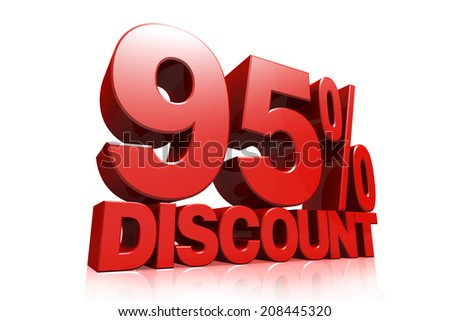 3D render red text 95 percent discount on white background with reflection