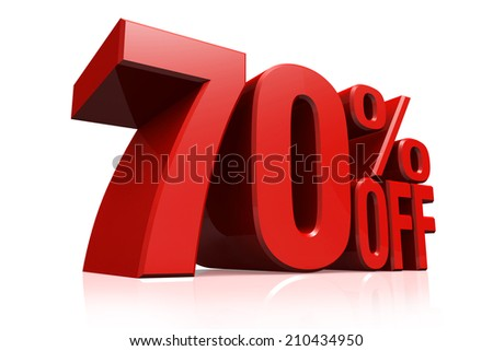3D render red text 70 percent off on white background with reflection. - stock photo
