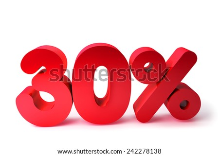 30% 3D Render Red Word Isolated in White Background - stock photo
