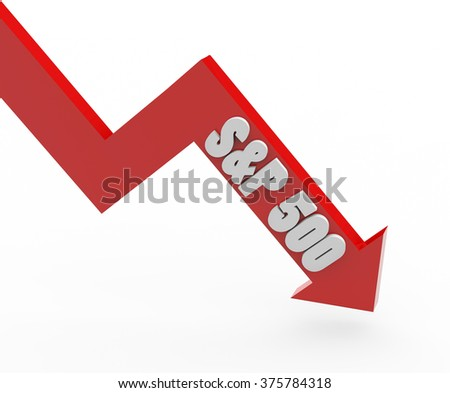 3d render S&P 500 stock market index in a red arrow on a white background.  - stock photo
