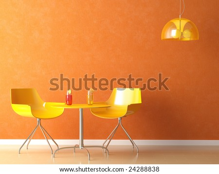 3D render scene of a modern coffee-shop table and chair in orange and yellow colors - stock photo
