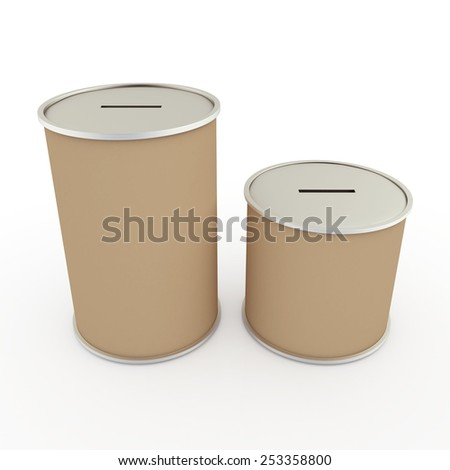 3D Render 2 Sides Original Brown Donation Cans in Isolated Background with Work paths, Clipping Paths Included.