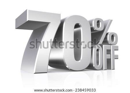 3D render silver text 70 percent off on white background with reflection.