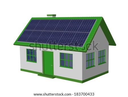 3d render simple house model with Solar Panels and bicycle