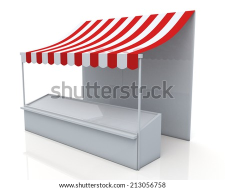 3D render stall and red & white canopy in isolated background with work paths, clipping paths included - stock photo