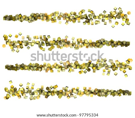 3d render strings of cubes in multiple shades of yellow - stock photo