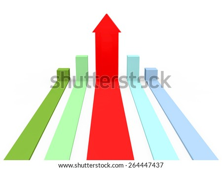3d render success concept with chart bars with one of them with a red arrow sign of winner on a white background.
