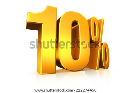 3D render text in 10 percent in gold on white background with reflection - stock photo