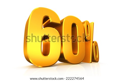 3D render text in 60 percent in gold on white background with reflection - stock photo
