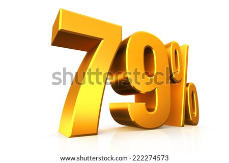 3D render text in 79 percent in gold on white background with reflection
