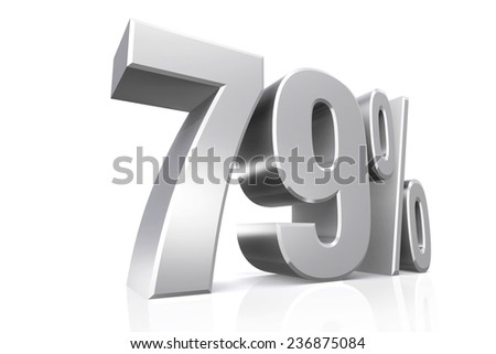 3D render text in 79 percent in silver on white background with reflection.