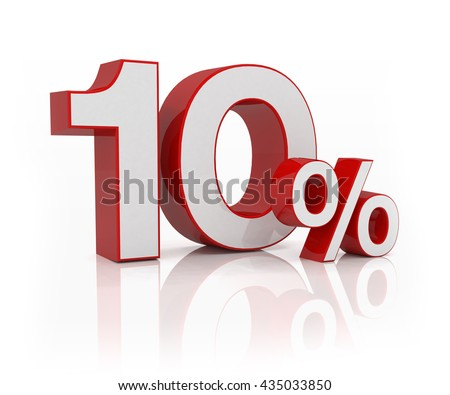 3D render text of 10 percent in red-silver over white background with reflection, business concept.