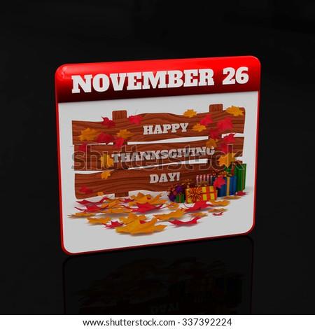3D Render: Thanksgiving calendar, Isolated on black background. - stock photo