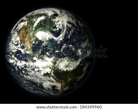 3D render the planet earth on a black background, high resolution - stock photo