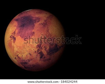 3D render the planet Mars on a black background, high resolution