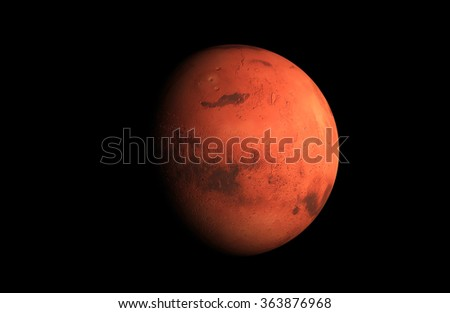 3D render the planet Mars on a black background, high resolution - stock photo