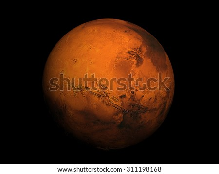 3D render the planet Mars with stars, high resolution. Elements