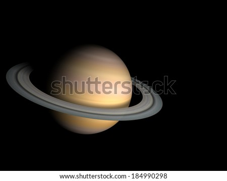 3D render the planet Saturn on a black background, high resolution