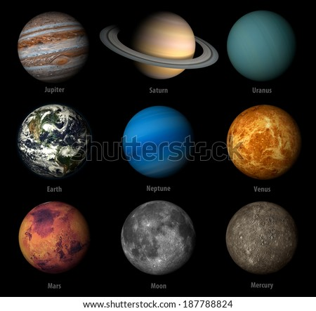 3D render the planets  solar system on a black background, high resolution Elements of this image furnished by NASA - stock photo