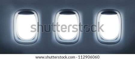 3d render  three aircraft's porthole - stock photo