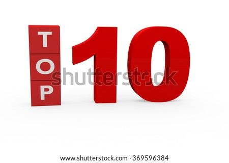 3d render Top 10 on a white background.  - stock photo