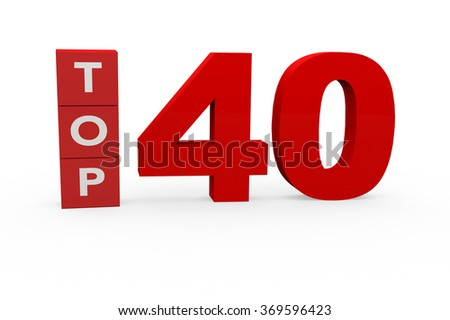 3d render Top 40 on a white background.