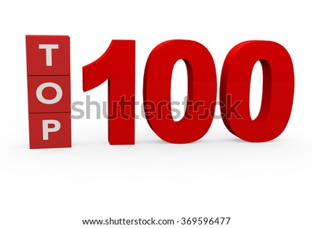 3d render Top 100 on a white background.