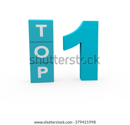 3d render Top 1 on a white background.  - stock photo