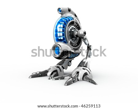 3d render toy robot - stock photo