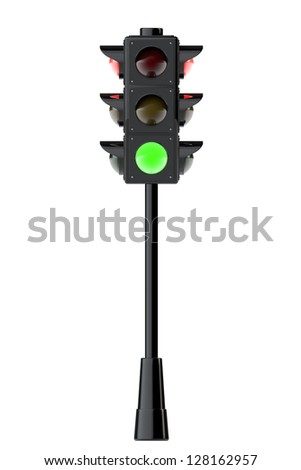 3d render traffic lights on a white background