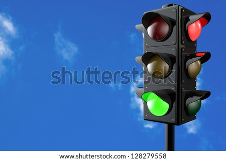 3d render traffic lights with bluesky background
