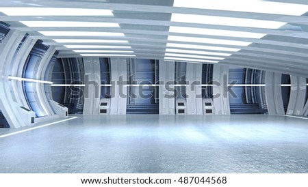3D render tunnel sci fi for use in presentations, education manuals, design, etc.