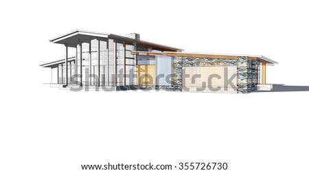 3d render view to mosern brick and wood house. wire frame architecture - stock photo
