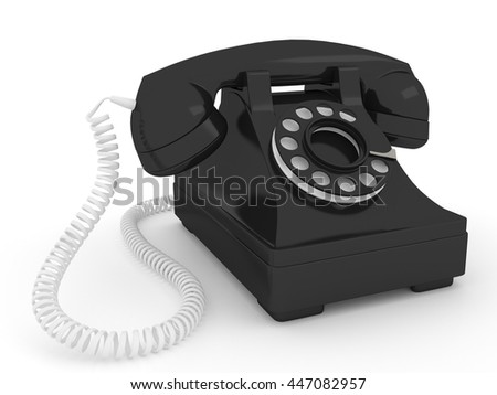 3d render vintage black telephone isolated on white background.