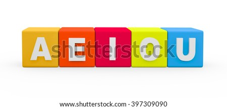 3d render vowel letters AEIOU building blocks on a white background.  - stock photo