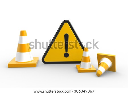 3d render warning sign and traffic coins