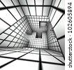 3d render white tiled labyrinth - stock photo