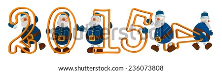 3D render with year 2015 with digits held by cartoony old men dressed in blue. The old man holding number four is leaving the scene and number five take his place. - stock photo