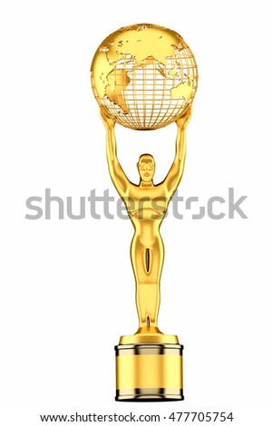 3d render, World Globe Trophy isolated on white background.