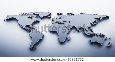 3D render world map - stock photo