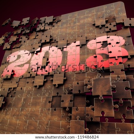 3D render 2013 year puzzle, Red, Gold and Wood texture Design with Dark Red Background - stock photo