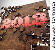 3D render 2013 year puzzle, Red, Gold and Wood texture Design with White Background - stock photo