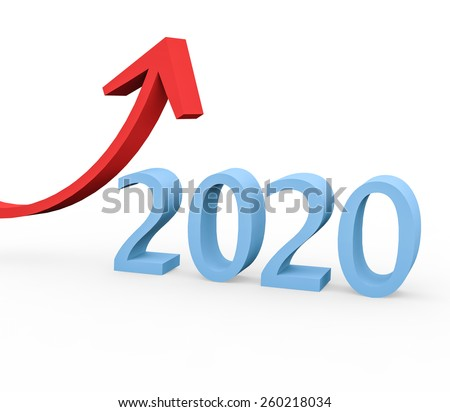 3d render year 2020 success concept with a growing red arrow on a white background.  - stock photo