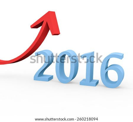 3d render year 2016 success concept with a growing red arrow on a white background.  - stock photo