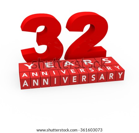 3d render 32 years anniversary on a white background.