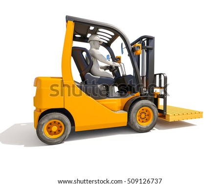 3d render: Yellow Forklift Truck Shot on White Background