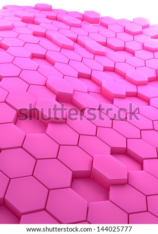 3D rendered abstract background with rose hexagons