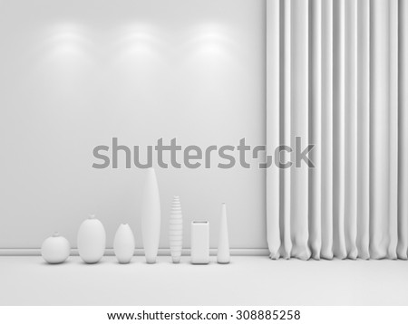3d rendered abstract interior composition with ceramics. - stock photo