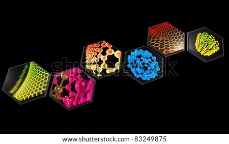 3D rendered abstract scientific nanotechnology  composition on black - stock photo