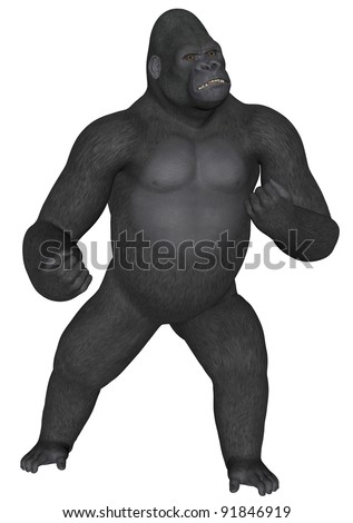 3D rendered african gorilla on white background isolated - stock photo